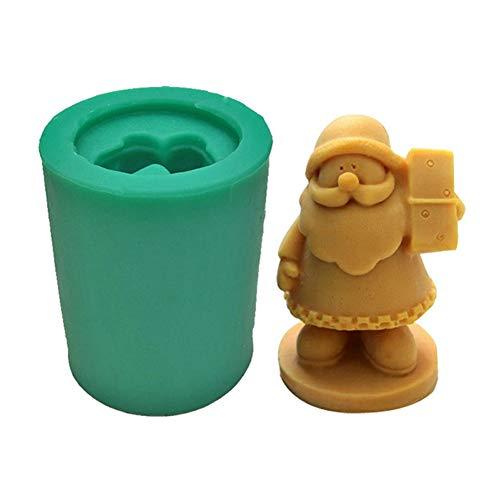 KAIENEOJJ Molde de silicona 3D para velas/jabones/molde para hornear, modelo de Papá Noel para hacer velas navideñas, ideal para hacer jabón y hornear