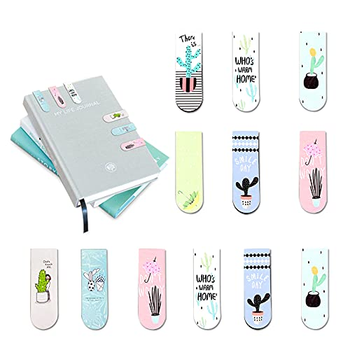 12 Pieces Kawaii Magnetic Bookmarks for Planner, Taste-k Magnet Book Markers Cute Cactus Magnet Bookmark Clips for Kids Students Girls and Women as Gift, Cute Assorted Magnet Page Markers