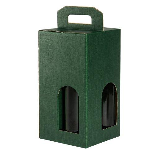 5 scatole verdi per 4 bottiglie vino verticali modello bordolese, borgognotta robuste strenne...