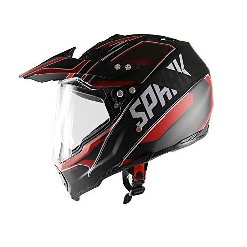 SanQing Motorcycle Helmet,Youth Kids Dirt Bike Helmets,Full Face Motocross Off-Road Downhill Helmet with Visor Racing Helmet Four Seasons Universal,RedTroops,L