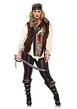 Leg Avenue Plus Size 4 Piece Captain Blackheart Set-Cold Shoulder Shirt Leggings and Headband-Sexy Halloween Costume for Women Multi 3X-4X