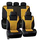 yellow and gray car seat cover - FH Group FB068YELLOW115 Yellow Universal Car Seat Cover (Premium 3D Air mesh Design Airbag and Rear Split Bench Compatible)