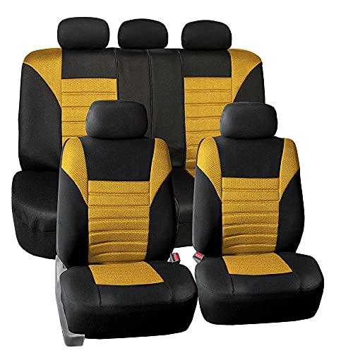 FH Group FB068YELLOW115 Yellow Universal Car Seat Cover (Premium 3D Air mesh...