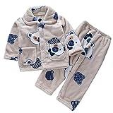 DEBAIJIA Baby Hauskleidung 0-12T Kleinkind Heimanzug Kinder Schlafanzüge Säugling Pyjama Junge Nachtwäsche Mädchen Flanell (Aprikose-6)