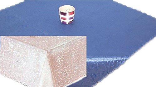 Onderhoudsvriendelijk tafelkleed 160x260 cm vierkant koningsblauw Jacquard damast rozenpatroon tafelkleed strijkvrij (koningsblauw)
