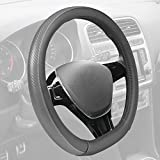 BDK Motor Trend GripDrive Steering Wheel Cover, Carbon Fiber Series - Microfiber Leather, Flat-Bottom (D-Type) Racing Style Cover for Wheel Sizes 13.5' to 14.5' (Gray)