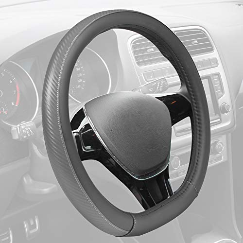 BDK Motor Trend GripDrive Steering Wheel Cover, Carbon Fiber Series - Microfiber Leather, Flat-Bottom (D-Type) Racing Style Cover for Wheel Sizes 13.5