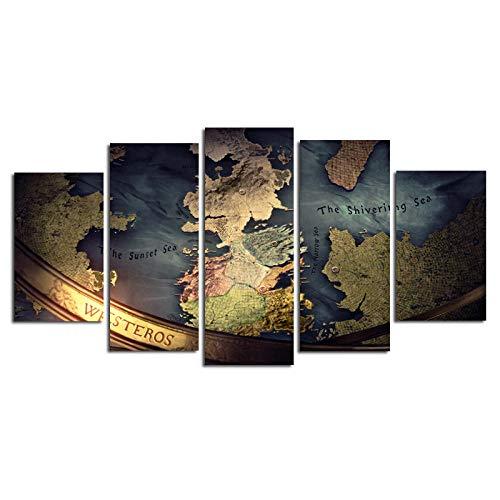 Yywife Cuadros Decoracion Salon Modernos 5 Piezas Lienzo Grandes XXL murales Pared hogar Pasillo Decor Arte Pared Abstracto Mapa de Juego de Tronos HD Impresión Foto Innovador Regalo