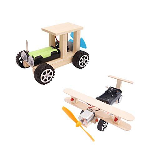 B Blesiya 2pcs Kit de Modèle d'avion Voiture de Planeur Jeu D'assemblage de Bricolage