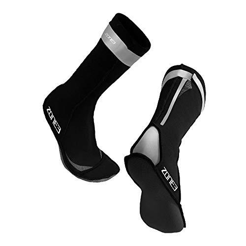 Zone3 Neoprene Swim Socks Black/Refelctive Silver, X-Small)