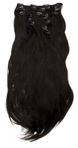 Love Hair Extensions - LHE/K1/QFC/120G/10PCS/18/1 - Thermofibre™ Lisses et Soyeux - 10 Pièces Clippants en Extensions - Couleur 1 - Noir de Jais - 46 cm