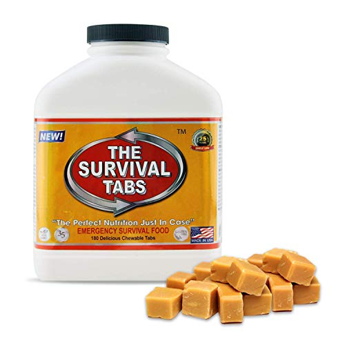Survival Food for Kayaking Survival Tabs 15-day Food Supply 180 Tabs Emergency Food Ration MREs Food Replacement Gluten Free and Non-GMO 25 Years Shelf Life Long Term Food Storage - Butterscotch