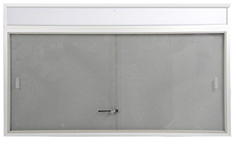 60 x 36 Bulletin Board with Separate Header Area Includes Sliding Glass Doors, 5' x 3' Enclosed Message Board with Gray Fabric Backing for Indoor Use, Aluminum