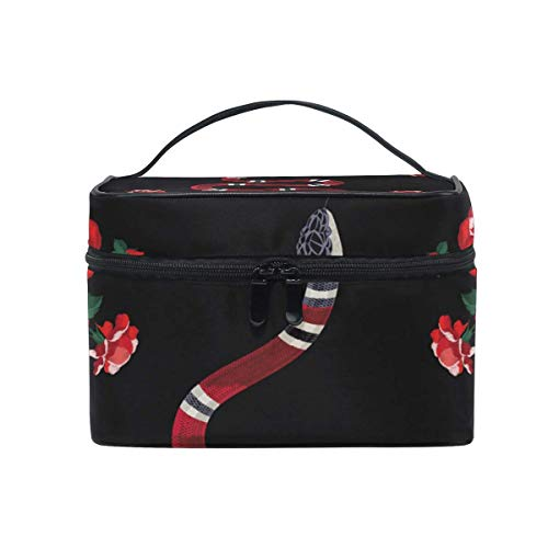 Snake Red Flower Cosmetic Bag Toiletry Travel Makeup Case Handle Pouch Multi-Function Organizer for Women