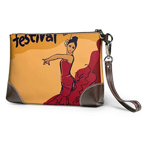 Hdadwy Bolso de mano de cuero suave impermeable para bailarina de flamenco española, cartera para niñas con cremallera para mujeres y niñas