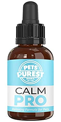 Pets Purest 100% Natural Calm PRO Dog Anxiety Relief Calming Aid Supplement for Dogs Cats Horses Rabbits Birds Pets. Anxiety & Stress When Home Alone, Aggression, Loud Noises, Fireworks & Kennels 50ml