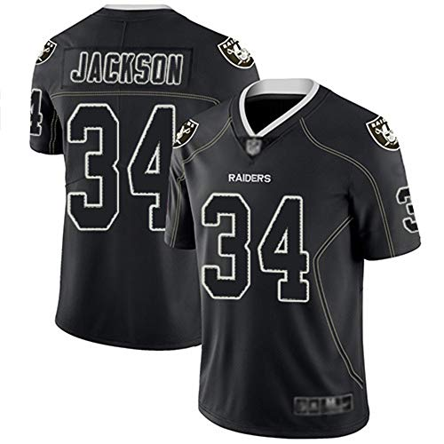 Männer Fan Rugby Jersey Jackson # 34, Raiders American Football Trikots Kurzarm Sports Top T-Shirt, schnelltrocknende Sport,L