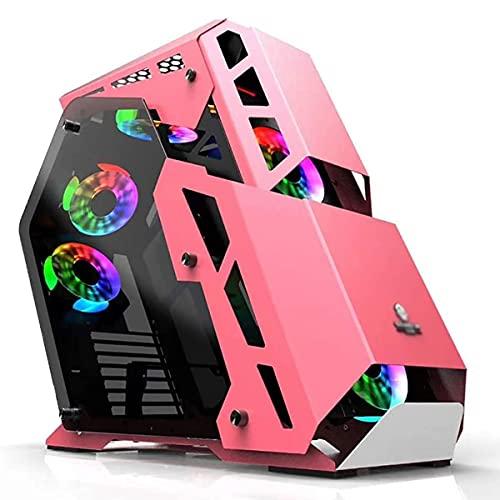 Caso De Juego, Mid-Tower ATX/M-ATX PC Caja De La Computadora De Juegos, Placa De 1.2 Mm, Vidrio Templado De 4 Mm, USB3.0, 7 Posiciones del Ventilador, Soporte De Refrigeración por Agua (Color : A)