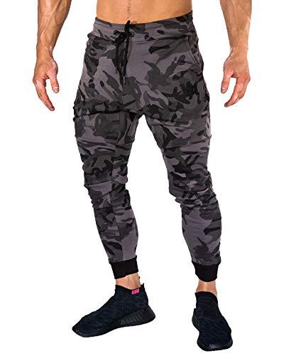 YoungLA Calça de moletom masculina slim fit academia treino bolso com zíper 202, Camo Black, Small