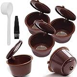 ERYUE Bolsas reutilizables para cápsulas de café con filtro de café, cápsulas de café, tazas de filtro con cepillo reutilizable para máquinas Dolce Gusto, color marrón