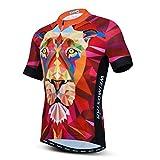 Ciclismo Jersey Hombres Verano Manga Corta Bike Jersey MTB Camisa Ciclismo Tops, Rojo tigre, Medium