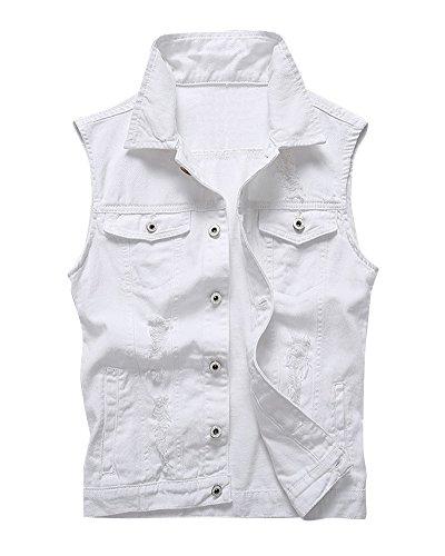 Herren Jeans Weste Basic Casual Denim Jeansjacke Freizeitl Weste Weiß 4XL   Bekleidung > Westen > Jeanswesten   DaiHan