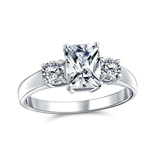 Bling Jewelry Art Deco Estilo 2CT rectángulo Esmeralda Corte 3 Piedra Pasado Presente Futuro Promesa CZ Anillo de Compromiso 925 Plata de Ley 925 Plata de Ley