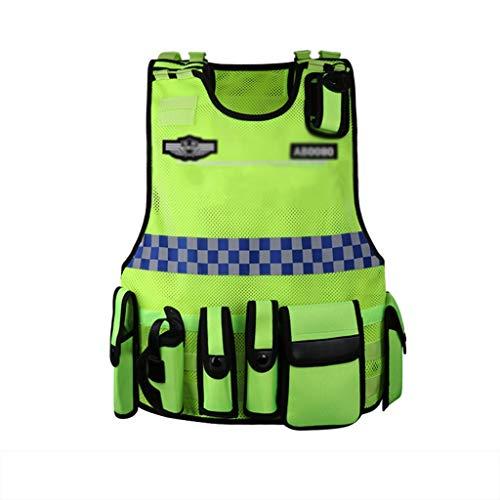 AZZ Hallo Viz VIS Weste, Reflektierende High Visibility Adjustable Overalls Jacke 2 Wählbare Stile Sicherheitsweste, for Bauarbeiter/Verkehr/Polizei (Color : B)