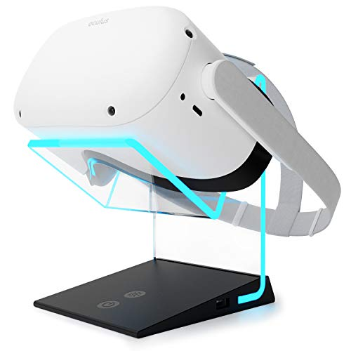 Universal Illuminated VR Stand with USB A Charge Port – Compatible with Oculus Quest 1 & 2 (Charge Cable not Included) HTC Vive, Rift-s, Go, Cosmos, PSVR, Index All VR Headsets | Aura