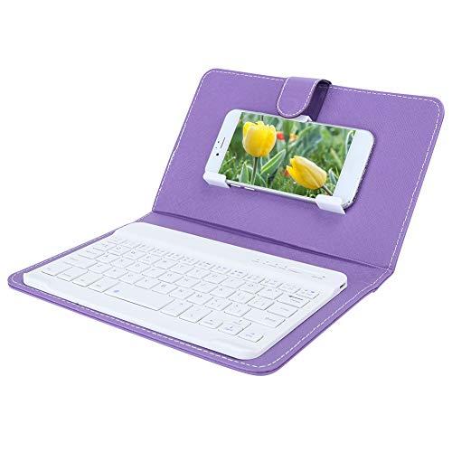 Vipxyc Teclado con Funda Protectora, Teclado Bluetooth inalámbrico portátil, Funda de Piel sintética con Teclado, con función de Soporte(Purple)
