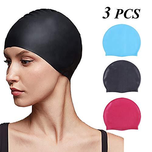 YMHPRIDE 3 Pack Badekappen für langes Haar Robuste Silikon-Badekappen für Frauen Männer Erwachsene Jugendliche Kinder, einfach an- und auszuziehen 3 Farben