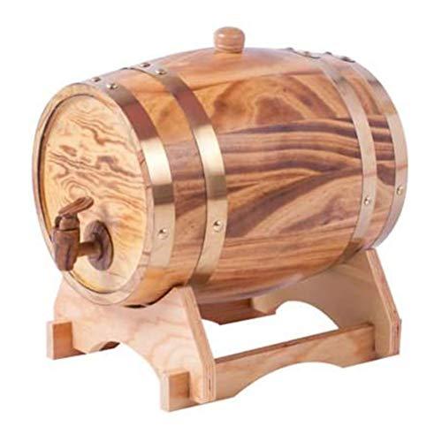 SETSCZY Barril de Roble Barril De Vino Barril De Madera Vintage Roble Dispensador De Vino Dispensador De Agua De Madera Estante De Madera Almacenamiento Whisky Vinagre De Vino Cerveza Vino,3L