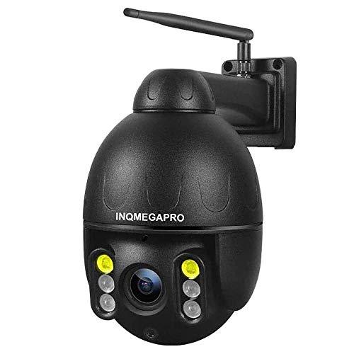 Telecamera Wifi Esterna, INQMEGAPRO 1080P PTZ Dome Telecamera di Sorveglianza Wireless, IP66 Impermeabile Videocamera di Sicurezza, Colorato Visione Notturna, Audio Bidirezionale, Motion Detection