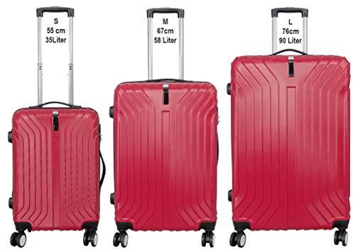 KoTaRu Koffer-Set Palma 3-teilig Reisekoffer Trolleyset Rot