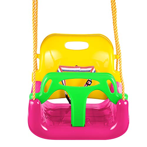 Profun Columpio Infantil Columpio de Jardín para Niños con Asiento de Respaldo Alto de Seguridad con Cadena de Metal 1.5M para Exterior (Multicolor 3)