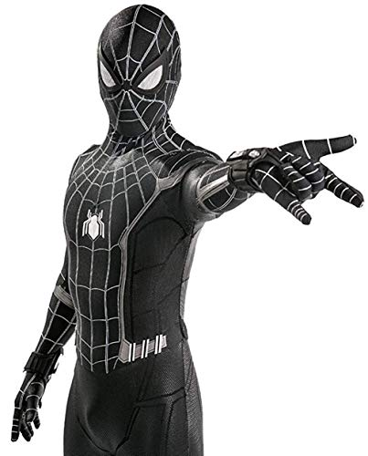 Lotusuncostume Black Superhero Bodysuit Spandex Zentai Suits Halloween Cosplay Costume Kids Large