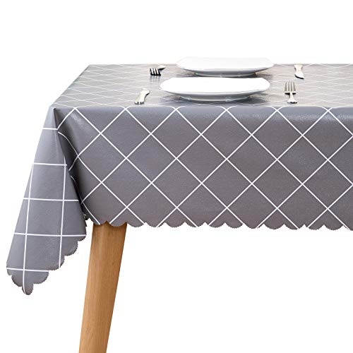 homing Square Waterproof Vinyl Tablecloth – 54 x 54 Inch Diagonal Pattern Plastic Table Cover, Wipe Clean Heavy Duty Protector for Camping, Dinner, Parties. Grey