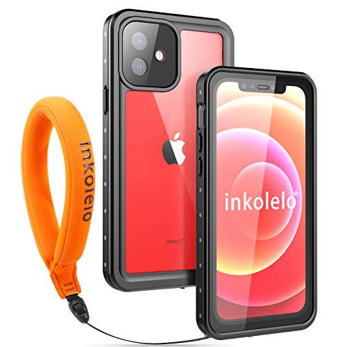 Funda Impermeable iPhone 12 Protección IP68 Waterproof 360-Grados Carcasa Case Protectora Antigolpes Anti-rasguños Impermeable Carcasa con Correa Flotante para Apple iPhone 12 (Negro Mate/Naranja)