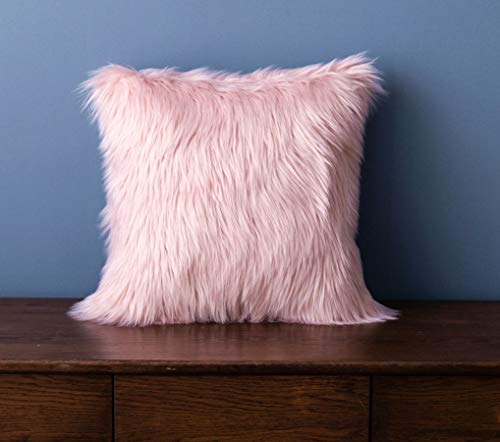LIGICKY Luxury Series - Funda de almohada de piel sintética suave, cuadrada, decorativa, de felpa, para sofá, cama, 45,7 x 45,7 cm, color rosa