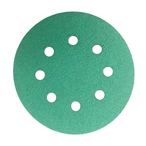 SSXPNJALQ 25 PC-Beruf Anti Clog 125 mm Schmirgelpapier 5-Zoll-Film Schleifscheibe mit 120 Grits Wet & Dry Klettschleifwerkzeugen (Color : Green)