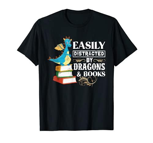 Facilement distrait par les dragons et les livres – Cadeau pour les amateurs de science-fiction T-Shirt