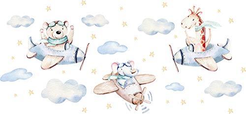 Szeridan Szeridan Wandaufkleber Wandtattoo Kinderzimmer Sticker Babyzimmer Giraffe Elefanten Teddybär Flugzeuge Wolken Sterne Himmel Deko 130x60cm (S, Tiere in Flugzeugen D147)