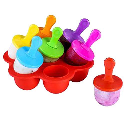 Tnaleve Moldes de helado, 7 cavidades mini molde de helado de silicona con varillas de plástico coloridas, reutilizables DIY congelados helados Pop moldes para piruletas y helados