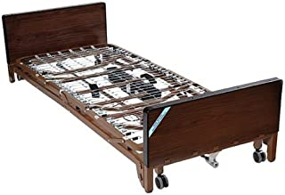 Drive Medical Delta Ultra Light Full Electric Low Hospital Bed Mattress, Half Rails & Innerspring