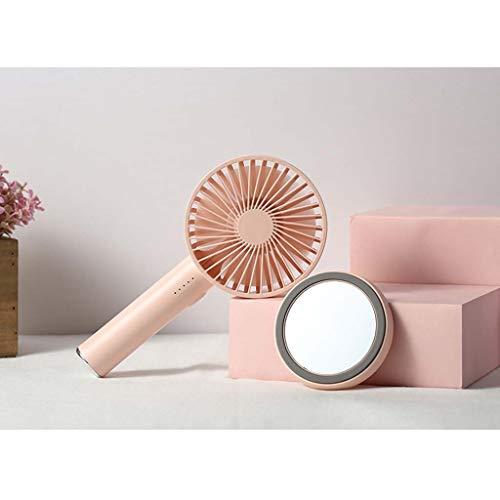 CJW MINI fan - mini ventilateur portatif 5 fichiers miroir de maquillage portatif 2000mAH rose (Color : Pink)