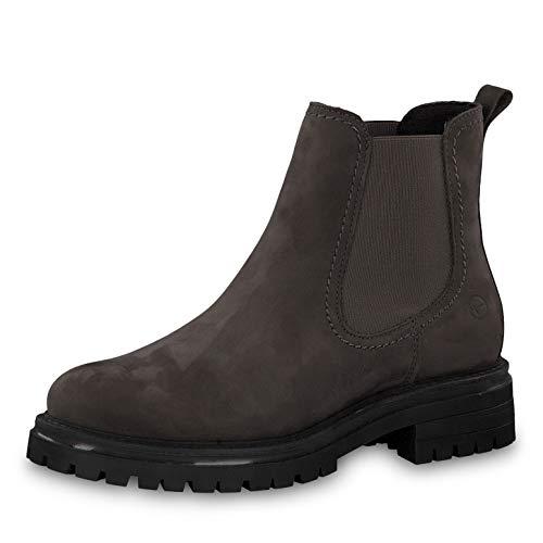 Tamaris Damen Stiefeletten 25474-23, Frauen Chelsea Boots, Freizeit leger Stiefel halbstiefel Stiefelette Bootie flach,Anthracite,36 EU / 3.5 UK