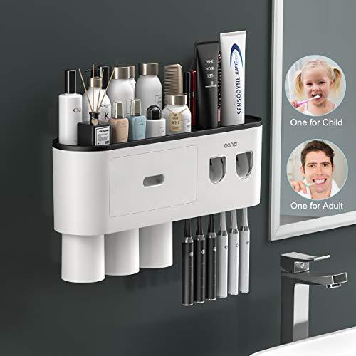 TuCao Dispensador de pasta de dientes automático doble con soporte para cepillo de dientes montado en la pared, organizador de almacenamiento grande, cajón organizador de cosméticos (3 tazas)