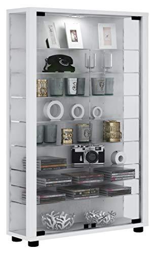 VCM Sammelvitrine Standvitrine Glasvitrine Glasregal Vitrine Glas Schaukasten ohne Beleuchtung Weiß