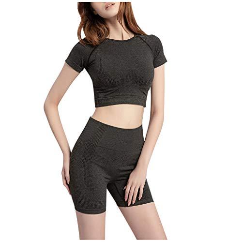 Best Prices! RUIVE Short Yoga Set Cloth for Women's Elastic Shorts Tops Hip Short Fitness Suit Sport...