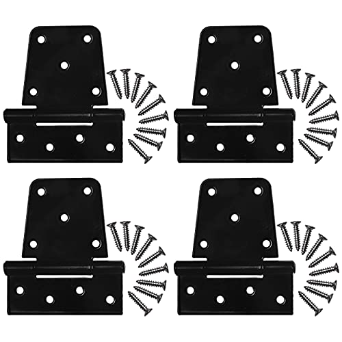 Gate Hinges Heavy Duty Kit - Black Iron Tee Strap Hinges w/ Stainless Steel Screw Mounting Hardware Included - Barn Door Hinges - Fence Gate Kit - Heavy Duty Hinges Durable for Outdoor & Indoor